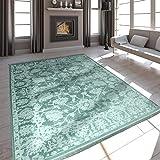 Paco Home Alfombra De Salón Moderna Aspecto Satén Barroco Flecos Verde Menta, tamaño:120x170 cm