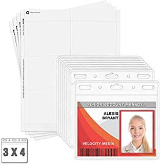 MIFFLIN Clear Plastic Horizontal 3x4 Inch Card Holder Bulk 100 Pack Quick Load No Zipper Name ID Badge with Paper Inserts Kit