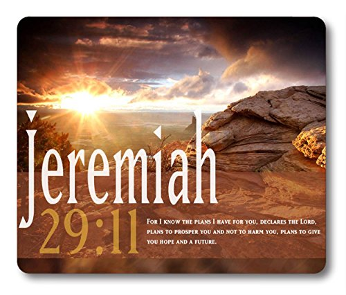 Smooffly Gaming Mouse Pad Custom,Jeremiah 29:11 Bible Verse Gaming Non-Slip Rubber Large Mousepad Mat