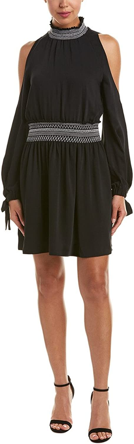 Laundry by Shelli Segal Womens Mock Neck Fit and Flare Dress with Smocking