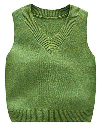 DEMU V-Ausschnitt Strickweste Kinder Ärmellos Strickpullover Weste für Jungen Mädchen Grün 80