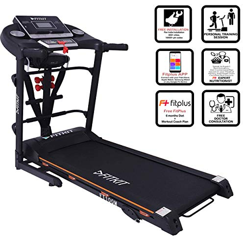 Fitkit FT100M 1.75HP (3.25HP Peak) Motorized Treadmill with Free Installation , Fitplus 6 Month Diet and Health Plan