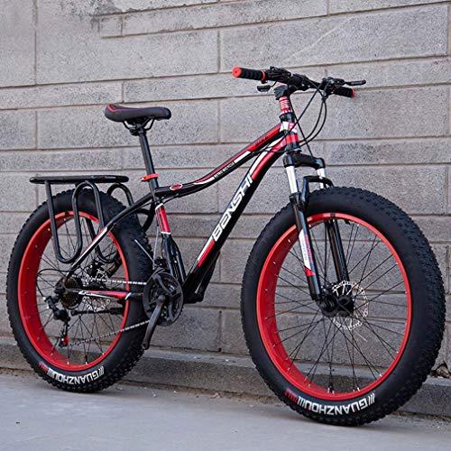 AISHFP Mens Fat Tire Mountain Bike, Beach Snow Bike, Double Disc Brake Cruiser Bikes, Lightweight High-Carbon Steel Frame Bicycle, 24 Inch Wheels,Black,7 Speed