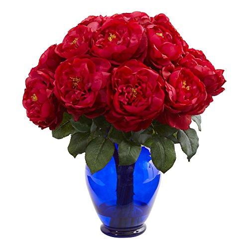Nearly Natural Artificial Rose Colored Vase Silk Arrangements, Red Silk Flower Arrangements