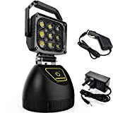 WEISIJI LED Work Light Rechargeable 45W Protable Outdoor Fishing Light with Magnetic Stand Base for Garage Camping Workshop Emergency Search Light with SOS Function 10000mA Power Bank 2 Years Warranty