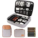 Electronics Organizer Bag, Cable Travel Organizer Case, Waterproof Electronic Accessories Case, Tech Portable Cord Storage Bag Pouch for Cable, Charger, Phone, USB, SD Card with 6pcs Cable Ties, Grey