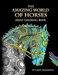 Amazing World of Horses Adult Coloring Book