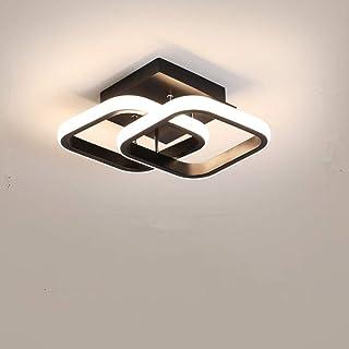 Osairous Plafón LED, lámpara de techo moderna 22 W, lámpara de techo negra acrílica de 2 LED cuadrados, plafón empotrable para comedor, cocina, estudio, luz blanca fría/6000 K