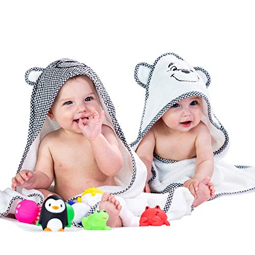 2 Pack Baby Hooded Bath Towels for Boys & Girls - Soft Cotton Toddler Towel with Hood Set - Unisex Infant & Newborn Bath Towels for Boy and Girl