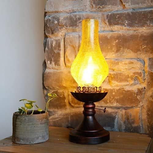 38cm Retro Gebrochen Glas Tischlampe Alte Petroleumlampe Schlafzimmer Nachttischlampe kreative chinesische Nostalgie Lampe Studie Schreibtisch-Licht (Farbe: Weiß Riss) Farbe: Gelb Riss