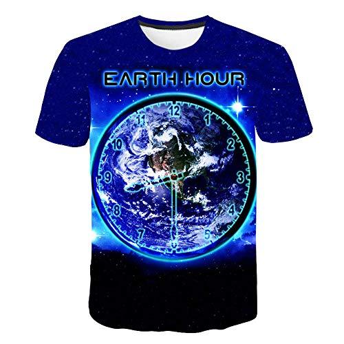 RKWEI T-shirt pour homme avec impression de la Terre 3D à manches courtes pour femme XXXXXL multicolore
