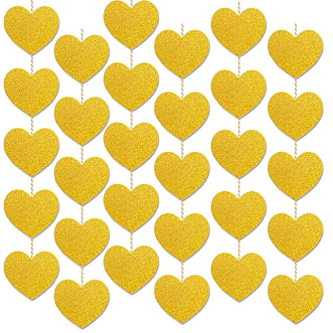 Gold Heart Garlands Wedding Party Decorations, 2 pcs x 13ft