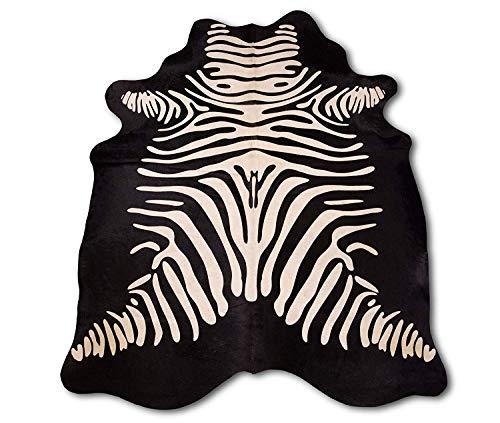 Zerimar Kuhfell Teppich Imitazion Zebra | Massnahmen: 210x165 cm | Teppich für Wohnzimmer |...