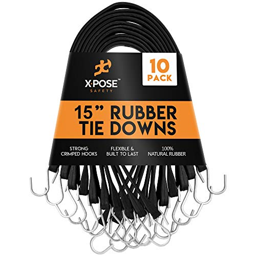 """Rubber Bungee Cords with Hooks 10 Pack 15 Inch (27"""" Max Stretch) - Heavy-Duty Black Tie Down Straps for Outdoor, Tarp Covers, Canvas Canopies, Motorcycle, and Cargo - by Xpose Safety"""