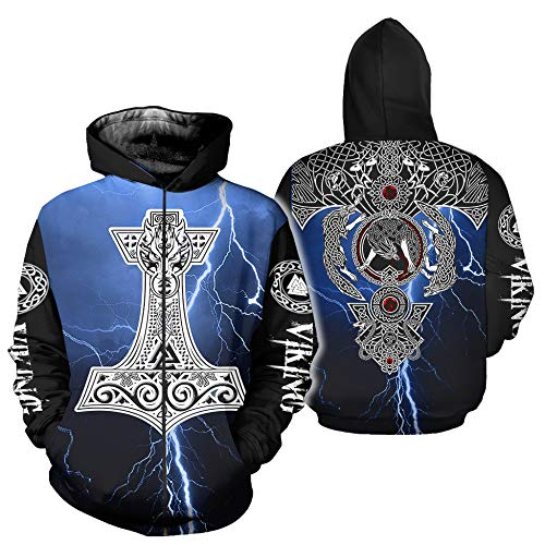 Viking Tattoo Sudadera con capucha para hombre, estampado 3D, Odin Rune Valknut Martillo de Thor, tótem de lobo celta, sudadera de otoño Harajuku a la moda, informal, para calle, H, M