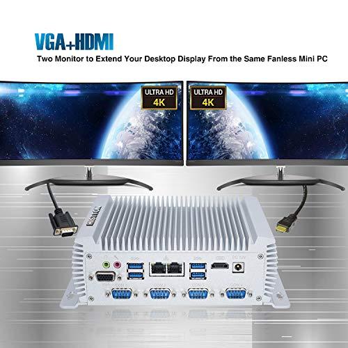 HISTTON Lüfterloser Mini PC Industrie PC Intel Core i7 4500U, 8GB RAM,128GB SSD, HDMI &VGA Dual Ausgang, RS232 & RS485 COM, 1000Mbps/LAN/WiFi/Bluetooth 4,0 / USB 3,0 Windows 10 Pro