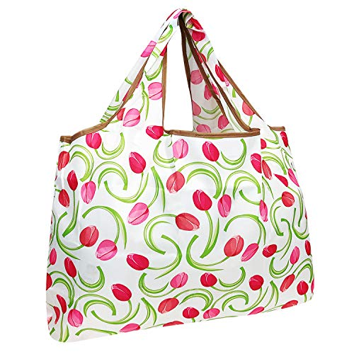 allydrew Large Foldable Tote Nylon Reusable Grocery Bags, Pink Tulips