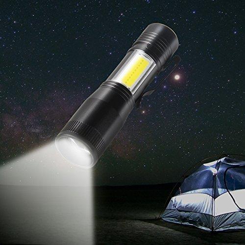 Hjuns® Mini LED Lampe de poche kit 4 modes d'éclairage réglable Zoom étanche lampe de poche, portable avec batterie au lithium rechargeable Ion batterie pour camping extérieur