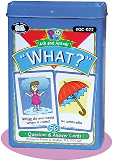 """Super Duper Publications Ask and Answer """"What?"""" Questions Flash Card Deck Educational Learning Resource for Children"""