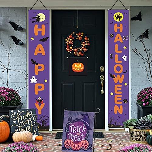 Halloween Banner, Helloween Deko, Happy Halloween Banner, Halloween Couplets Haustür Deko Hängend, Halloween Haustür Garten Tür Deko Draußen Innen, Violett Halloween Dekoration für Party Karneval