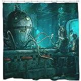 Wild One Curtain 36X72 Pouces,Rétro Rideau De Douche Set Steampunk Décor De Salle De Bains Cool Octopus Scuba Diver Art 12...