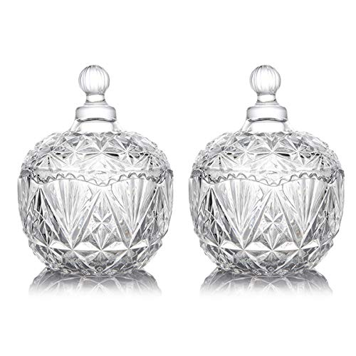 Kaachli Glass Candy Dishes with Lid Decorative Candy Bowl Crystal Covered Candy Jar for Home Office Desk Set of 2 (KC-Gl-CD-2, Clear)