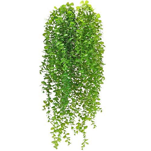 HUAESIN 2 Pcs Künstliche Hängepflanzen Eukalyptus Kunstpflanzen Hängende Dekopflanze Künstlich Girlande Hängend Grüne Plastikpflanzen Lange für Innen Hochzeit Außen Balkon Wand Garten Deko 95cm