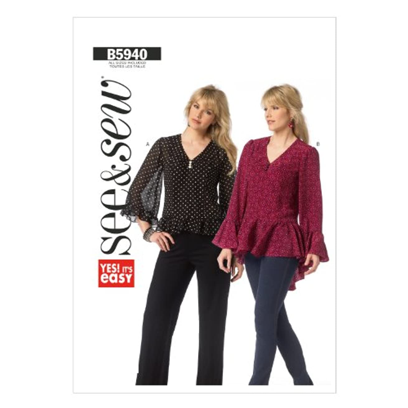 Butterick Patterns B5940 Misses' Top Sewing Template, Size A (All Sizes in One Envelope)