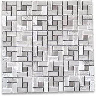 Athens Silver Cream Haisa Light Marble Pinwheel Windmill Target Mosaic Tile Gray Dots Polished