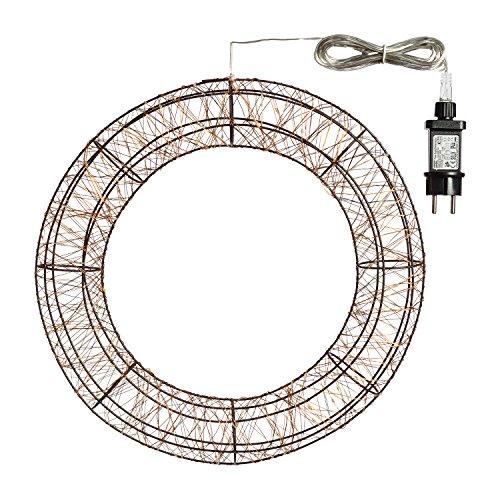 Corona Ghirlanda 3D Rame Metallo Marrone Ø 40 cm, 180 microled bianco caldo, flashing, 4,5V, cavo trasparente, esterno