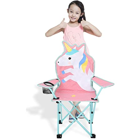 Qchomee Kids Folding Chair Cartoon Camping Chair Recliner Moon Chair with Steel Pipe Frame and Soft Padded Seat for Baby Toddler Home Outdoor Beach