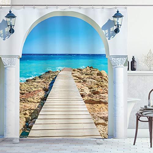ABAKUHAUS Küsten Duschvorhang, Meer mit einem Quay Coast, Wasser Blickdicht inkl.12 Ringe Langhaltig Bakterie & Schimmel Resistent, 175 x 200 cm, Creme Aqua