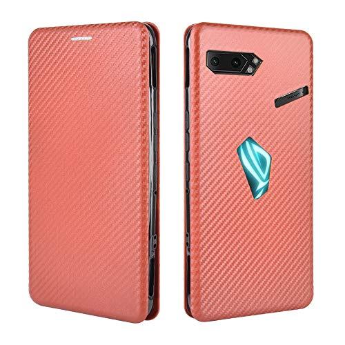 DYIGO Funda para ASUS ROG Phone 2 ZS660KL, Funda Protectora de Fibra de Carbono Tipo Flip, Funda para teléfono móvil Anti-caída, Marco de Anillo Independiente, Ranura para Tarjeta (marrón)