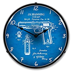Colt 1911 Patent LED Wall Clock, Retro/Vintage, Lighted, 14 inch