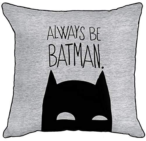 Warner Brother Always Be Batman Dark Knight graues Logo umgekehrte paspelierte Kanten quadratisch gefülltes dekoratives Kissen offizielles Lizenzprodukt – 40 cm x 40 cm, Baumwolle, 40 x 40 cm