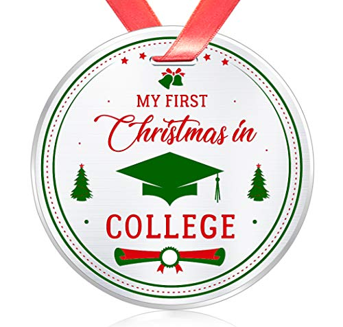 Elegant Chef First Year of College Christmas Ornament- My First Christmas in College- Xmas Holidays Celebration Gift for Son Daughter- Festival Collectible Keepsake- 3 inch Flat Stainless Steel