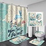 4PCS/Set Blaues Kaninchen Cartoon Muster Polyester Stoff Duschvorhang rutschfeste Badematte Toilettendeckel Abdeckung Teppiche Home Badezimmer Dekor Set,180x180cm