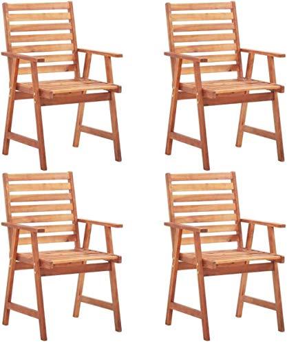 Woodtree Sillas Comedor Jardín sillas Madera 4 Unidades sillas Esterna Terraza Madera Maciza Acacia 56 x 62 x 92 Centimetri