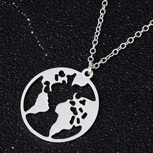 ASDFG Collar Exteriores, Collar de Mapa del Mundo, Regalo del Día de la Tierra para Mejores Amigos, Colgantes de Wanderlust, Personalizar la Moda