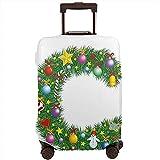 Funda de Equipaje de Viaje Celebración Festiva Letra C Corazones Capitales Bolas Coloridas Protector de Maleta de Vacaciones de Invierno Talla L