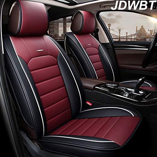 JDWBT Autositzbezüge, 5-Sitzer-Komplettsatz Universal-kompatible Airbags vorne und hinten atmungsaktiv hochwertiges Leder Comfort Protector Cushion (Farbe : Rot)