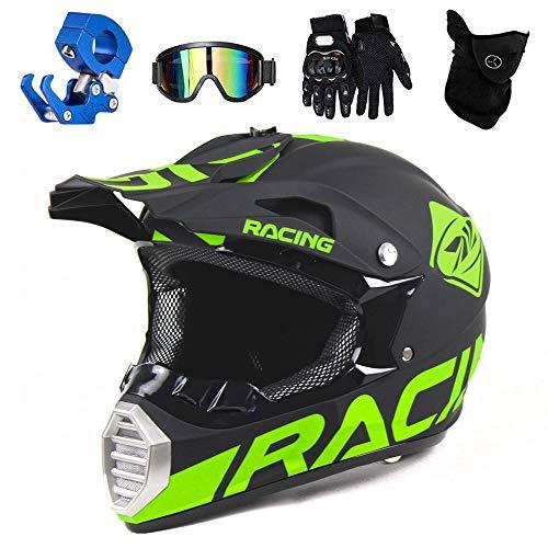 PKFG® Motocrosshelm Cross Helm Herren Grün Sicherheit Set, Freien Motorradhelm Motocross Off-Road Enduro Helm mit Helmhaken Brille Maske Handschuhe für Motorcycle Mountainbike ATV,S(52~53CM)