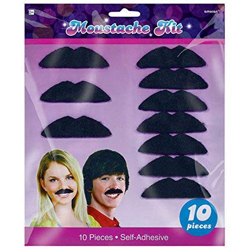 Amscan 70's Party Mustaches, 10 Ct., Multicolor, One Size - 391626