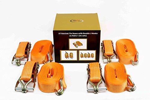 DiversityWrap Spanngurte, 6 m x 50 mm, Spannmittel, Eisengriff und Doppel-J-Haken, 5000 kg-Spannkraft, Gurtband, 4 Stück