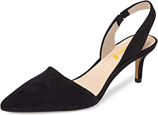 FSJ Women Fashion Low Kitten Heels Pumps Pointed Toe Slingback Sandals Dress Shoes Size 4-15 US