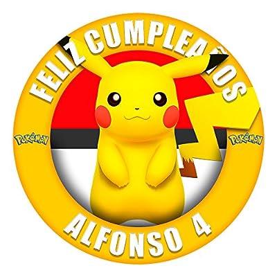 OBLEA de Papel de azúcar Personalizada, 19 cm, diseño de Pikachu Pokemon por Decoraciones Personalizadas
