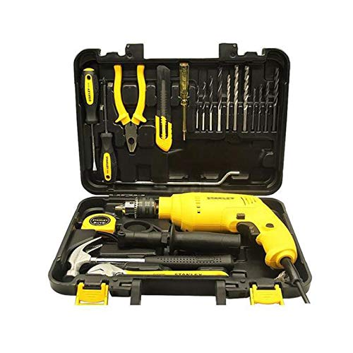 GKJ Hi-Spec 21 Piece Household DIY Tool Kit Set,with 500W Continuously Variable Electric Drill Easy Carry with Professional Case