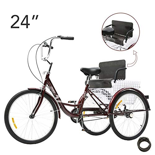Viribus 24in. Adult Tricycle Three Wheel Trike Bike Single Speed Cruiser with Child Seat Rear Basket, Hybrid Exercise Bike City Commuter, Step-Through Steel Frame fits Adult Plus Kid and Cargo