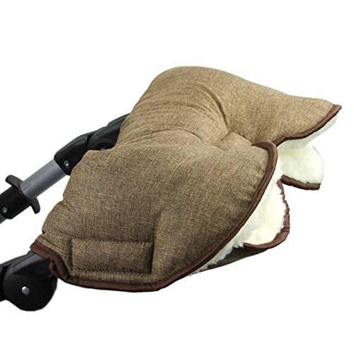 BAMBINIWELT universaler Muff Handwärmer Handschuhe für Kinderwagen Buggy Jogger mit Wolle meliert BRAUN XX
