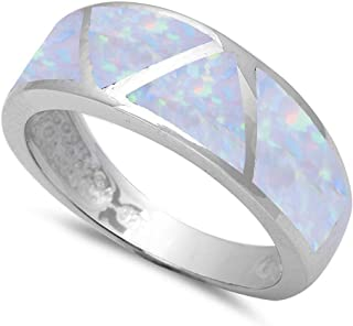 Sterling Silver Lab Created White Opal Fashion Band Ring Sizes 5-10